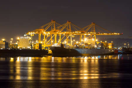 puget sound: Port of Seattle in Washington State at night closeup