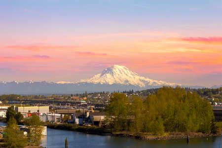 tacoma: Mount Rainier from Tacoma Marina in Washington State at Sunset