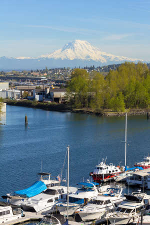 tacoma: Mount Rainier from Tacoma Marina in Washington State on a clear blue sky day