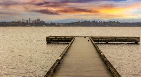 bellevue: The Dock at Madrona Beach on Washington Lake in Seattle during sunset.