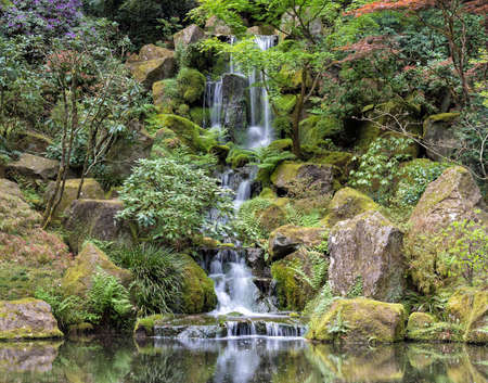 tourist feature: Heavenly Falls at Portland Japanese Garden in Spring season Stock Photo