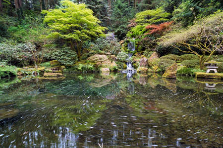 Heavenly Falls and the swirly pond at Portland Japanese Garden in Springtime