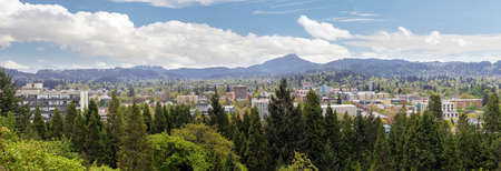 butte: Eugene Oregon downtown cityscape from Skinner Butte Park viewpoint during spring panorama Stock Photo