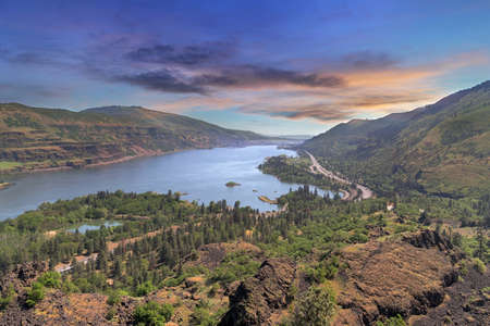 Columbia River Gorge along Highway Intestate 84 from Rowena Crest in Oregon