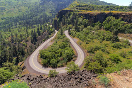 pacific crest trail: Old Columbia Highway Loop at Rowena Crest in Columbia River Gorge Stock Photo