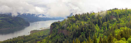lush: Crown Point on Columbia River Gorge Oregon on a Cloudy Day Panorama