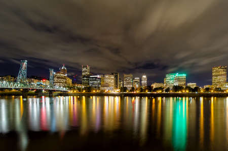 Portland Oregon downtown nightscape