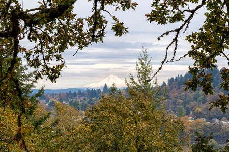 mount hood: Mount Hood View from Willamette Falls Scenic Overlook along I-205 in Oregon Stock Photo