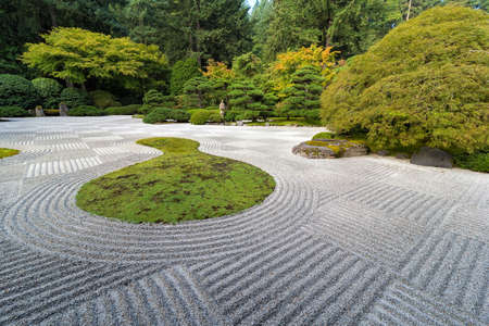 Japanese Flat Garden with Checkerboard pattern Pine Maple trees rocks and plants