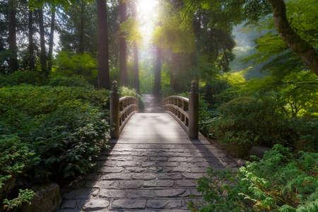 La luz de la mañana en el puente de la luna en el jardín japonés