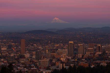 northwest: Last light on Mt Hood and the city of Portland Oregon