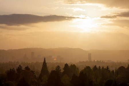 northwest: Golden sunset over the city of Portland Oregon skyline