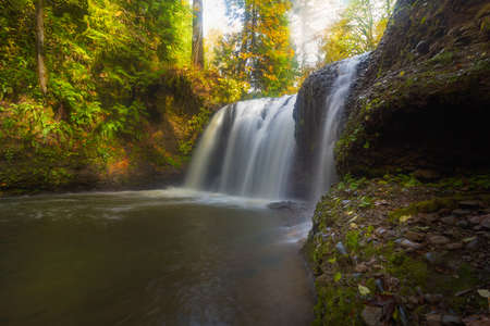 oregon cascades: Hidden Falls in Rock Creek Clackamas Oregon during fall season Stock Photo