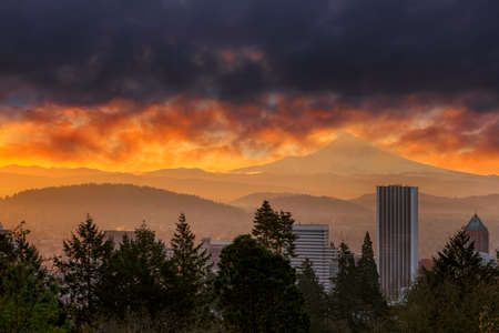 Sunrise over the city of downtown Portland Oregon and Mount Hood