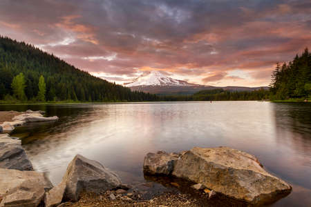 Stormy sunset over Mount Hood at Trillium Lake Stock Photo