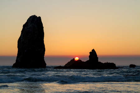 Sunset at Cannon Beach in Oregon Coast