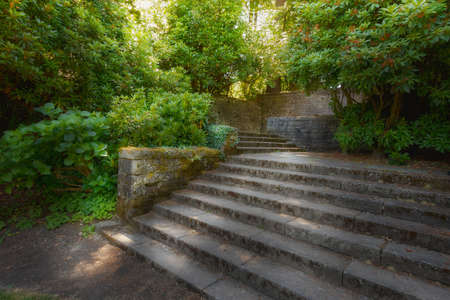 Old garden stone walls and stair steps with lush greenery shrubs plants in filtered sunlight Stock Photo