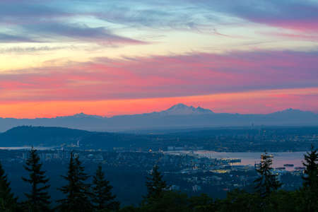 Vancouver British Columbia Canada cityscape with Cascade mountain range during early morning dawn blue hour Stock Photo - 81619844