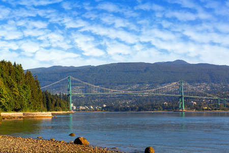 Lions Gate Bridge at Stanley Park in Vancouver British Columbia Canada
