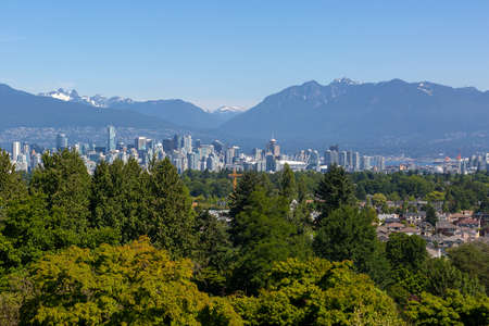 Vancouver British Columbia Canada downtown city skyline from Queen Elizabeth Park Stock Photo