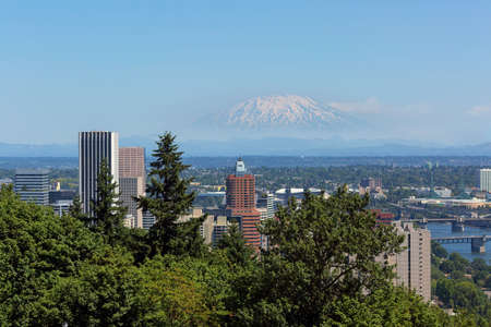Portland Oregon downtown with Mount Saint Helens view