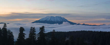 Blanket of fog rolling below Mount Saint Helens during sunset panorama Stock Photo
