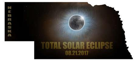 Total Solar Eclipse Sun Moon Stars Corona in Nebraska State Map Outline Stock Photo