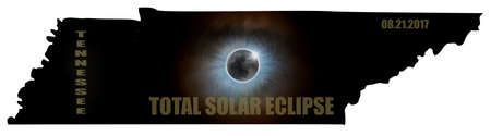 Total Solar Eclipse Sun Moon Stars Corona in Tennessee State Map Outline