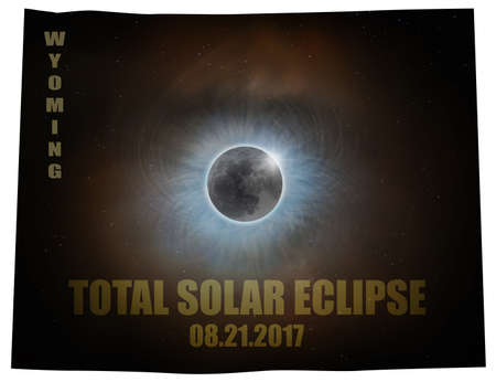 Total Solar Eclipse Sun Moon Stars Corona in Wyoming State Map Outline