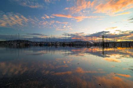 Port of Anacortes Cap Sante Marina in Washington State during sunset