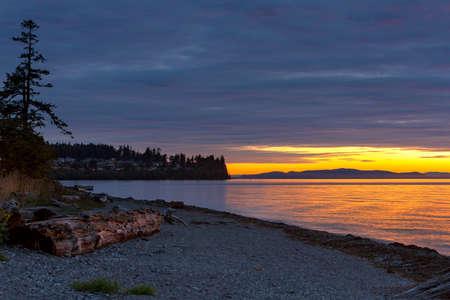 Sunset along the beach at Birch Bay State Park in Washington Stock Photo