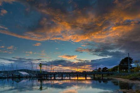 Sunset over Cap Sante Marina boat ramp in Anacortes Fidalgo Island Washington State