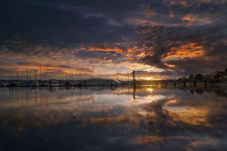 Sunset over Cap Sante Marina at Anacortes Fidalgo Island in Washington State