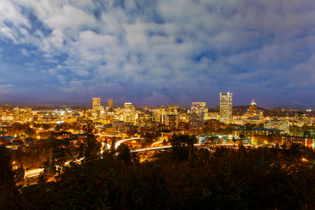 Portland Oregon downtown cityscape during evening blue hour Stock Photo