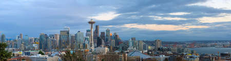 Seattle Washington city downtown skyline during evening blue hour panorama