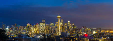 City of Seattle Washington downtown skyline during evening blue hour panorama