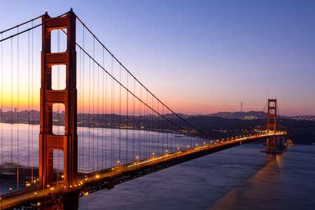 Golden Gate Bridge in San Francisco California during early morning sunrise Stock Photo