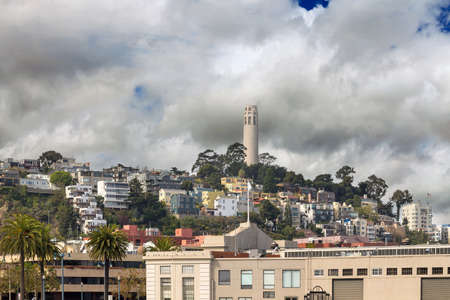 Homes on Telegraph Hill Neighborhood by Coit Tower in San Francisco California