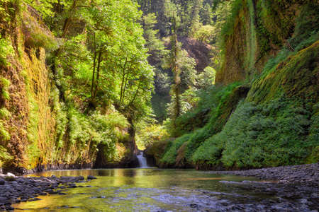 Waterfall along Eagle Creek in Columbia River Gorge on a sunny day in summer