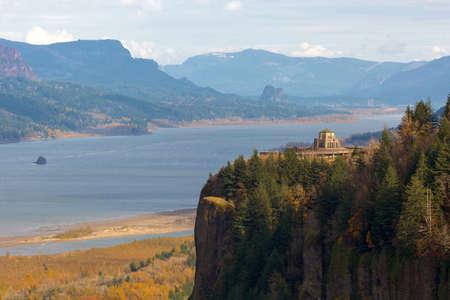 Vista House on Crown Point Oregon at Columbia River Gorge with Beacon Rock View on Washington State Stock Photo