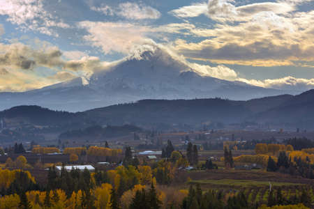 Clouds Rolling over Mount Hood at Hood River Valley in Oregon during Fall Season Stock Photo