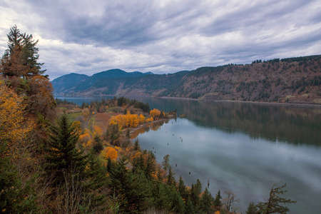 Fall Season Color at Ruthton Point along Columbia River in Hood River Oregon on a cloudy day Archivio Fotografico