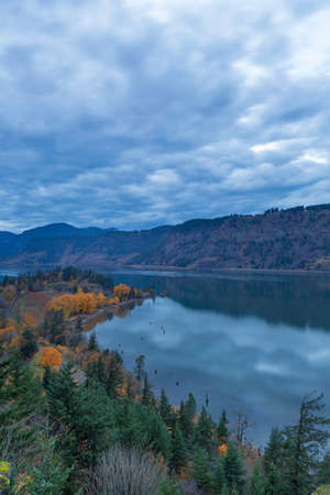 Ruthton Point along Columbia River at Hood River Oregon during evening blue hour in fall season USA America