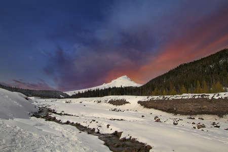 Winter Wonderland at Mount Hood National Forest in Oregon during Winter Season Stock Photo