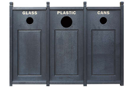 Recycle Bins for Glass Plastic and Cans isolated on white background Stock Photo
