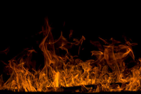 Abstract fireplace fire flames on black background Stock Photo