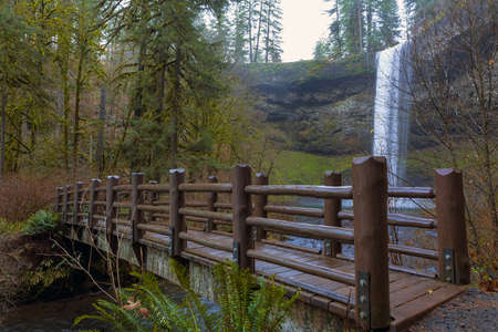 Wood Bridge by South Falls in Silver Falls State Park in Oregon Stock Photo