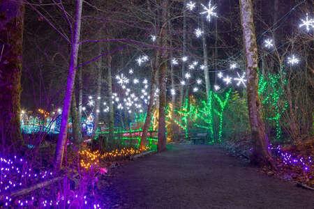 Christmas lights along Lafarge Lake strolling path in Coquitlam British Columbia Canada at night Stock Photo