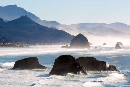 Cannon Beach along Oregon Coast in Pacific Ocean