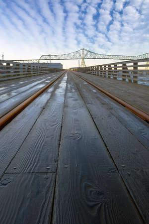 Under the Astoria–Megler Bridge on Riverwalk at Oregon Coast